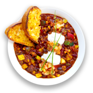 Quinoa Vegetable Chili with Southwest Garlic Bread