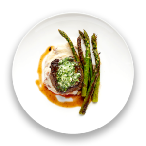 Filet Mignon with Asparagus  &  Blue Cheese Butter
