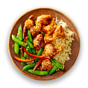 General Tso's Cauliflower with Asian Stir-Fry Vegetables  &  Brown Rice