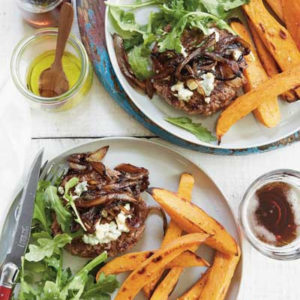 Blue Cheeseburgers with Balsamic Onions and Sweet Potato Fries