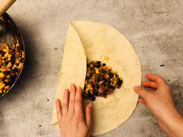 Corn and black beans burritos by Home Chef