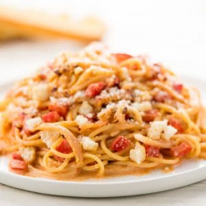 Spaghetti with Roasted Red Pepper Cream