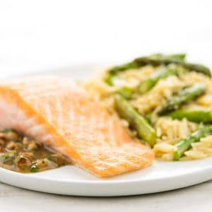 Salmon with Hazelnut Brown Butter Sauce