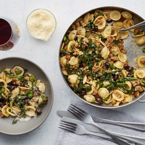 Orecchiette with Broccoli Rabe, Olives and Organic Sausage