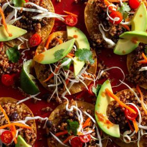Southwestern quinoa–black bean tostadas with cabbage slaw and avocado
