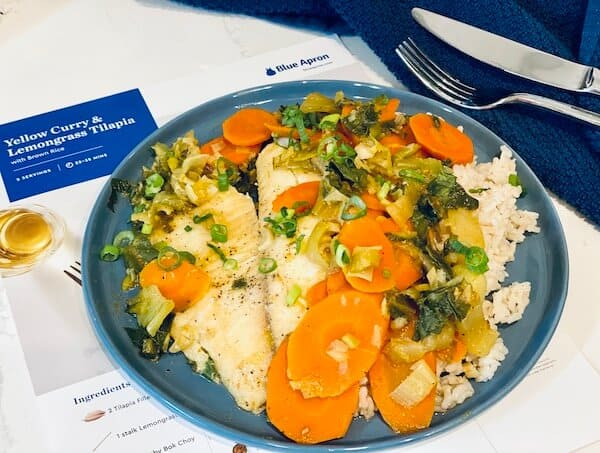 Yellow curry and lemongrass tilapia blue apron WW